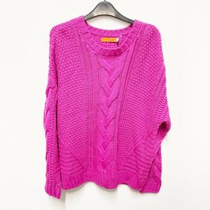 One A Pink Mixed Knit Crew Neck Sweater